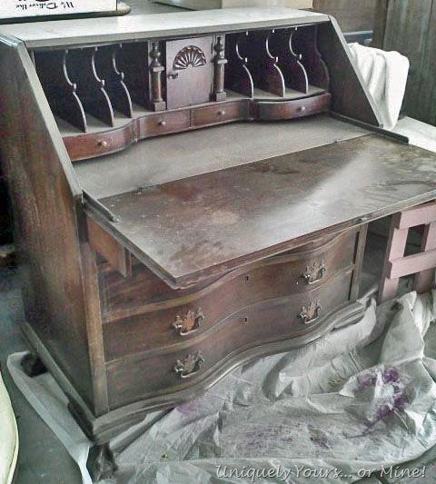 Vintage Claw Foot Drop Front Secretary Desk Uniquely