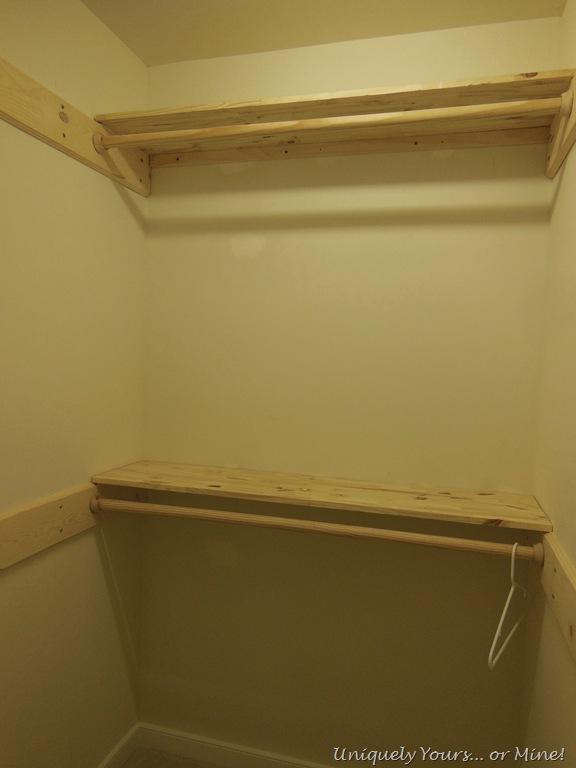 Lighting Basement Washroom Stairs: Installing Wood Shelving In Closet