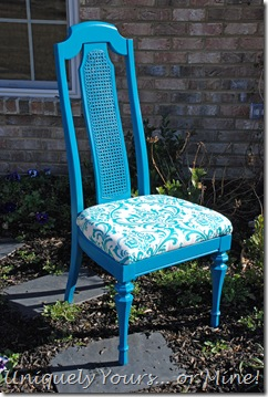 Painted blue cane back chair
