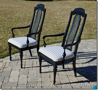 Painted black cane back chairs