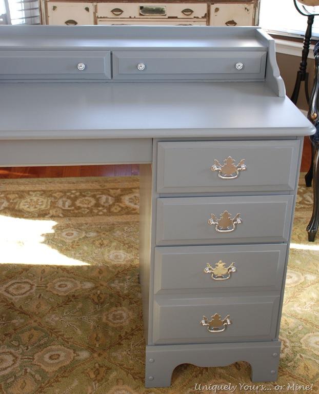 grey painted desk