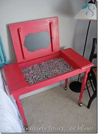 Pink painted desk