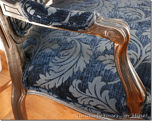 Painted French armchair blue velvet fabric