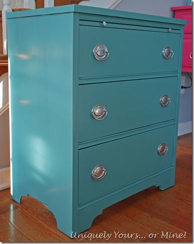 Blue Provence painted mahogany three drawer chest