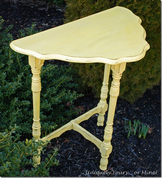 Yellow painted vintage half moon table