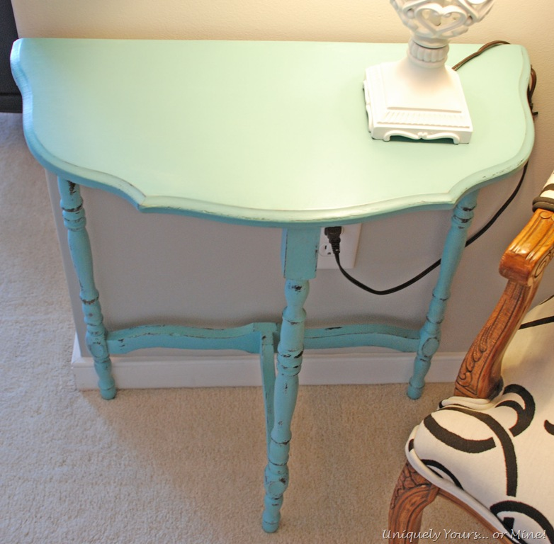 Blue Half Moon Table Blue Painted Half Moon Table