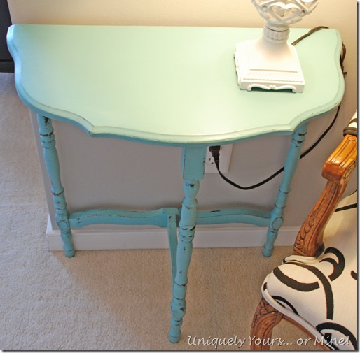 Blue painted half moon table