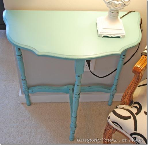 Blue painted half moon table