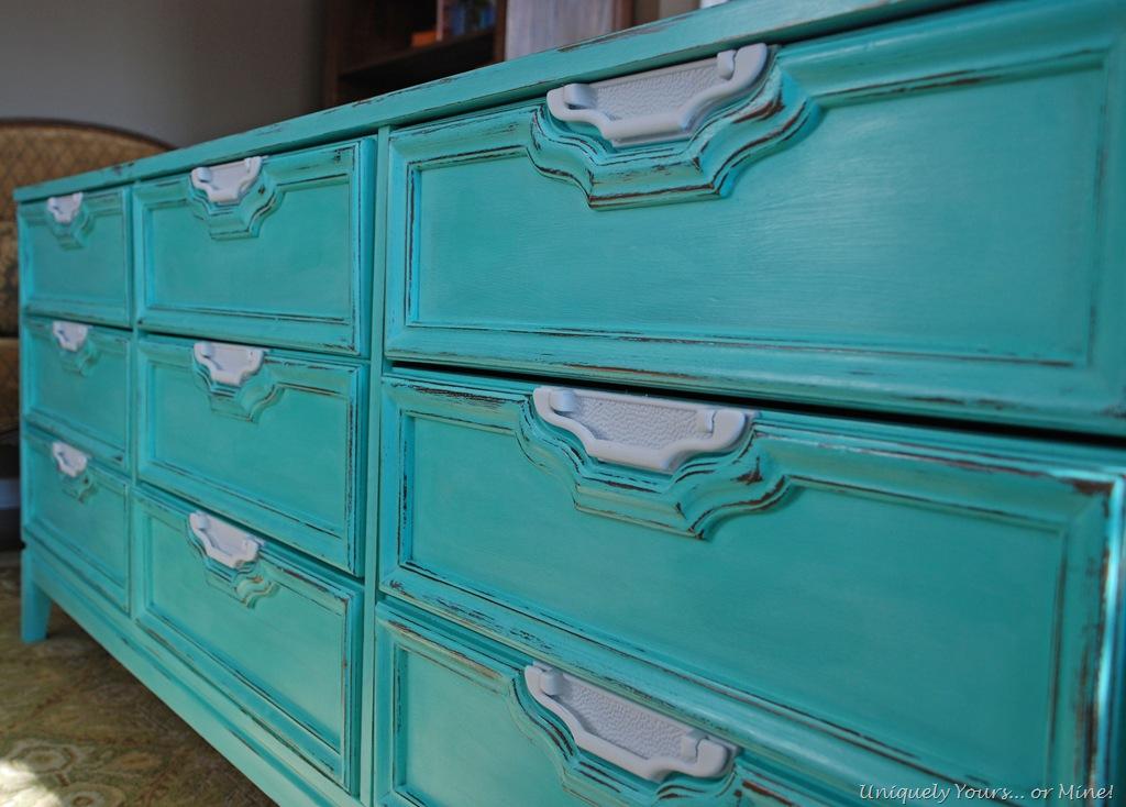 Beautiful Turquoise Dresser Update