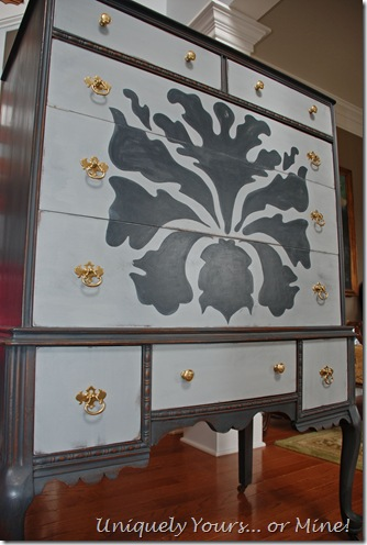 Painted tall chest of drawers