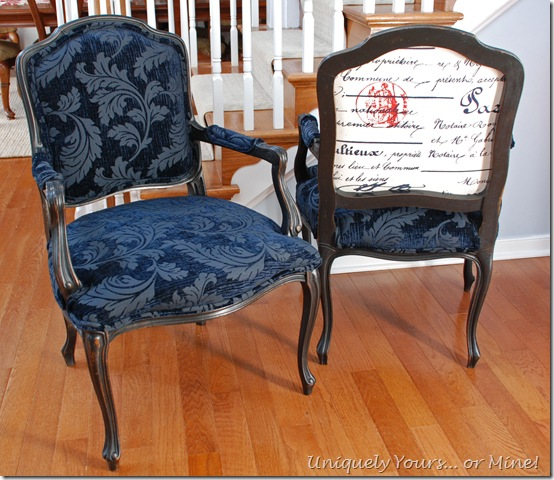 Upholstered French armchairs