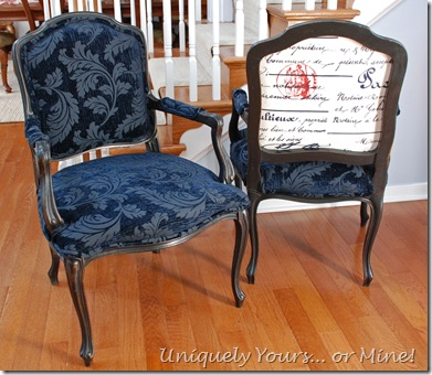 Vintage black and dark navy venlvet upholstered French chairs