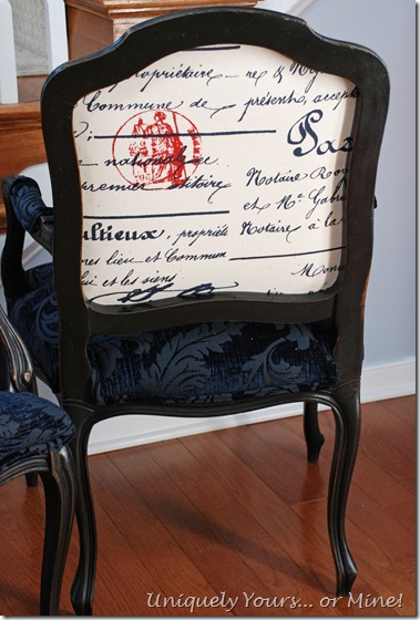 French script fabric French armchair