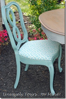Painted French dining chairs Duck Egg blue