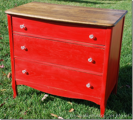 Painted red oak chest