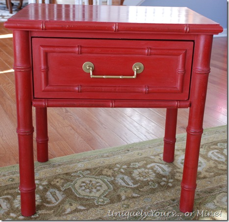 Faux Bamboo Table Painted Red