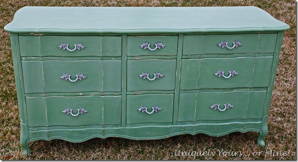 Blue Green Painted French Dresser Annie Sloan and CeCe Caldwell