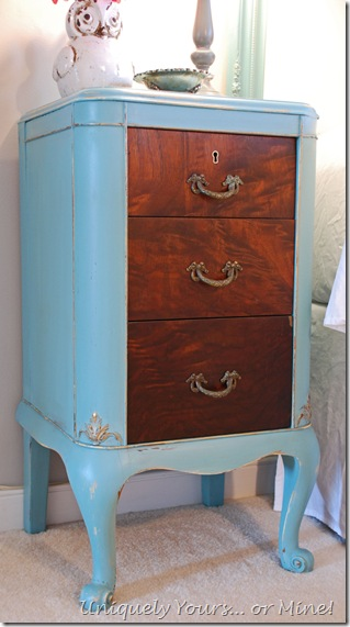 Blue painted French nightstand Provence chalk paint