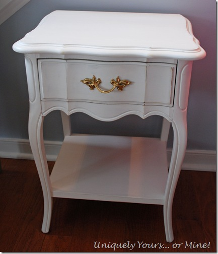 vintage Dixie French nightstand painted white