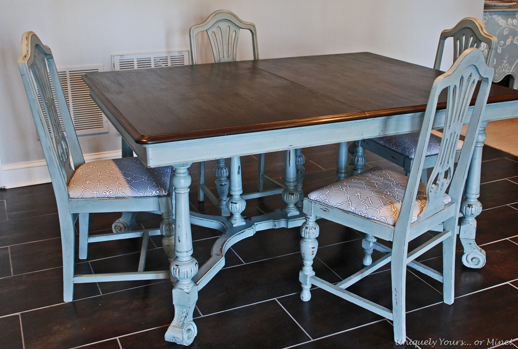 Blue painted table uniquely yours or mine for Painted dining room table and chairs ideas