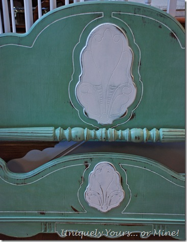 Custom green Annie Sloan Chalk Painted bed