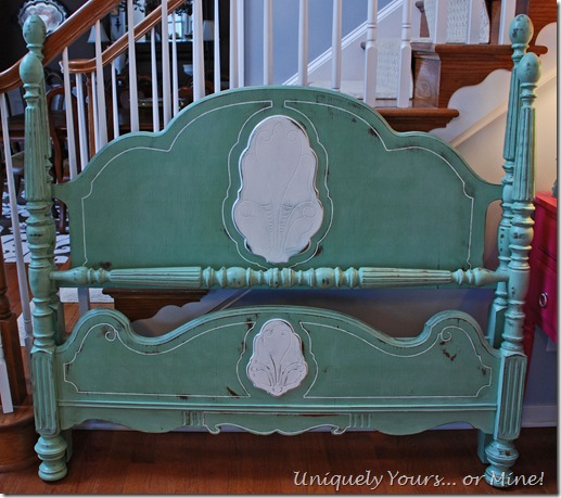 Green painted custom Victorian bed