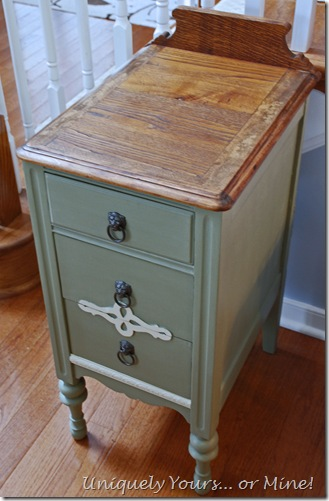 vintage nightstand painted green