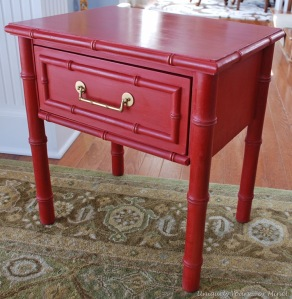Emperor's Silk Red Painted faux bamboo table