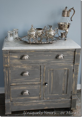 Pittsburgh Gray painted washstand with marble top