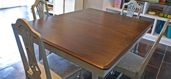 refinished vintage dining table and chiars