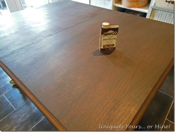 applying oil to table top
