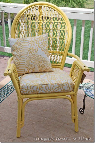 rattan yellow and white chair