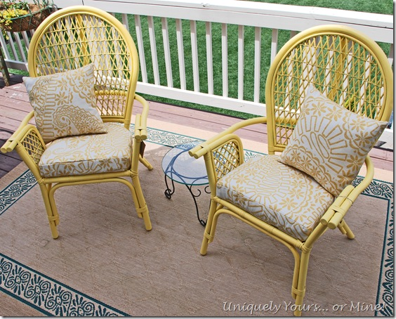 painted yellow rattan chair
