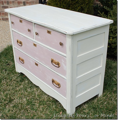 painted vintage chest pink and white