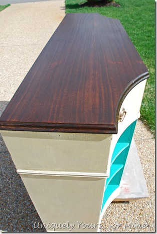 staining wood top of buffet