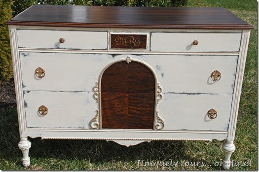vintage dresser refinished painted old white chalk paint