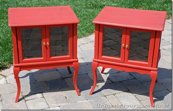 coral painted side table