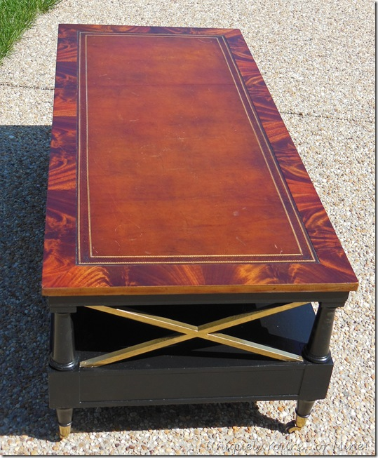 tooled leather topped coffee table