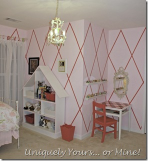 harlequin striped walls girls bedroom pink