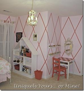 harlequin striped walls girls bedroom pink