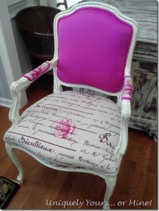 Pink and script fabric Upholstered French chair