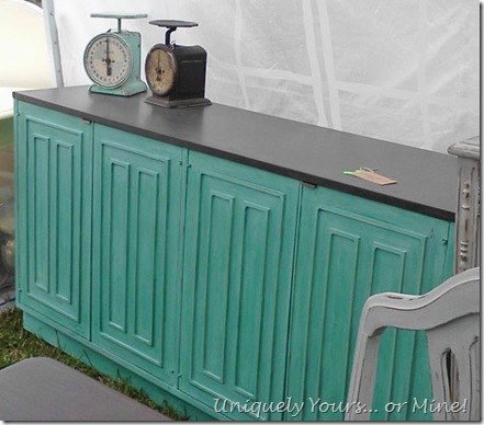 Painted vintage buffet in Destin Gulf green