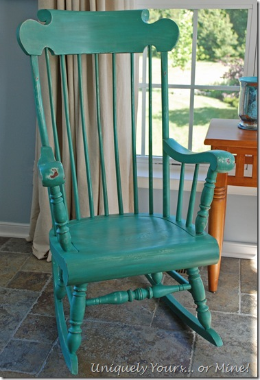 Blue Green Painted Rocking Chair