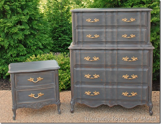 French chest and nightstand painted CeCe Caldwell Pittsburg Gray