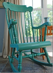 Green Blue painted rocking chair