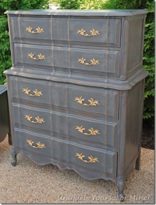 Refinished French Chest over chest in Pittsburgh Gray CeCe Caldwell clay and chalk paint