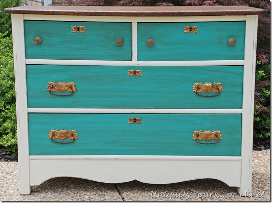 Painted and stained vintage chest in custom ASCP mix, turquoise and white.