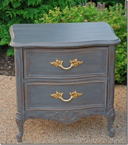 Refinished French nightstand in Pittsburgh Gray CeCe Caldwell clay and chalk paint