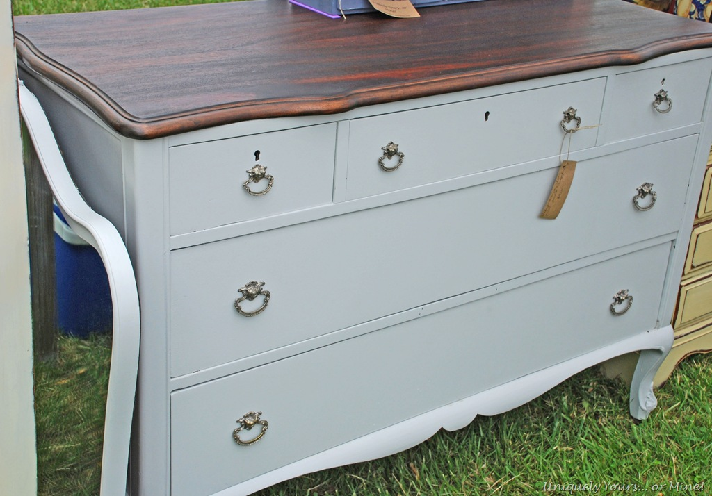 Refinished gray painted dresser chest of drawers