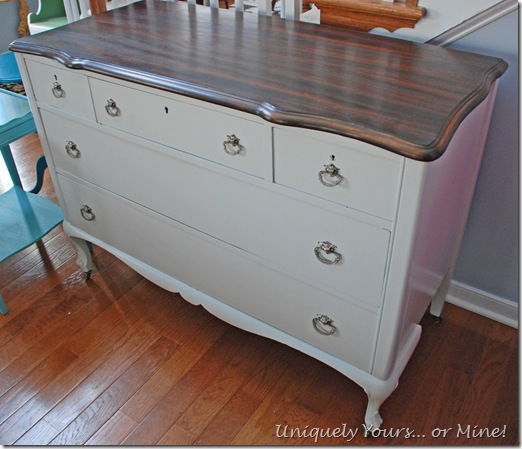 Stonington gray painted vintage chest of drawers